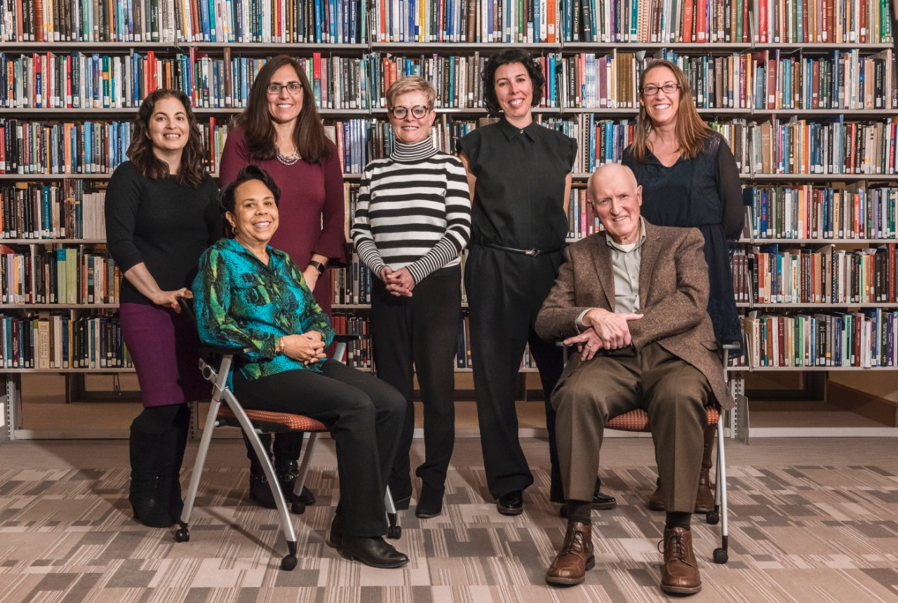 BCSSW contributors to Grand Challenges for Social Work and Society (left to right): Erika Sabbath, Ruth McRoy, Stephanie Berzin, Jacquelyn James, Rocio Calvo, Jim Lubben, and Christina Matz-Costa. Not pictured: Carrie Johnson. (Photo courtesy Gary Wayne Gilbert).
