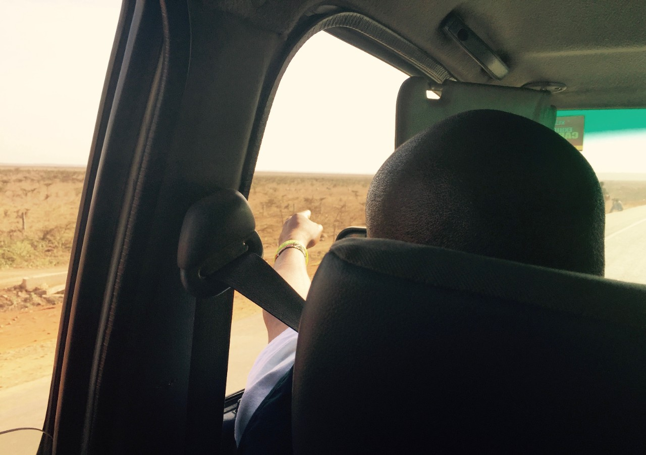 Passing the Nairobi National park on the drive back from Kitengela, pointing to the animals.