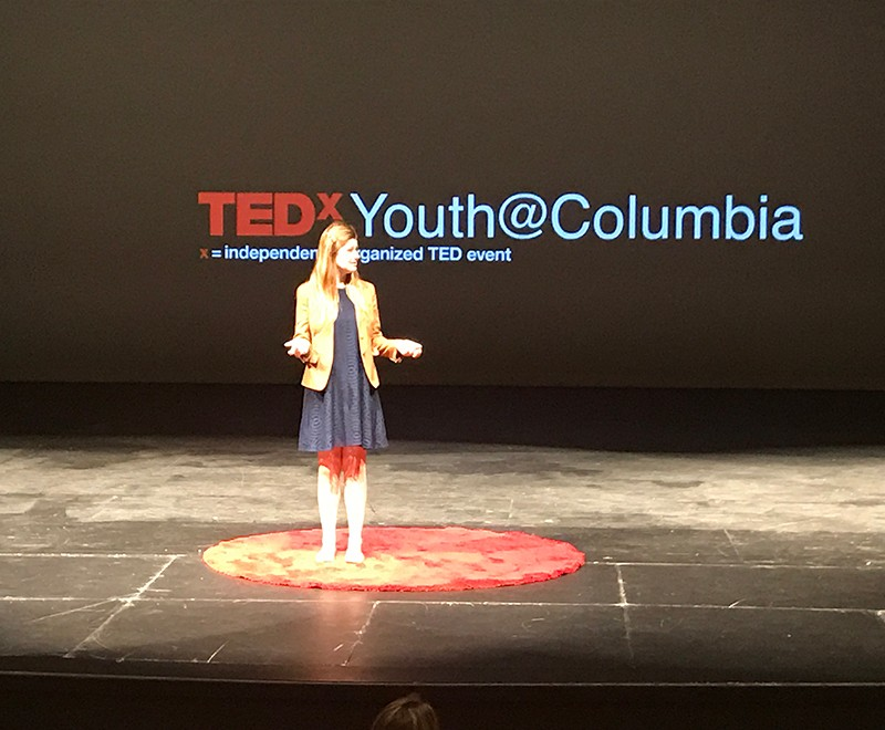 Victoria Hamilton presenting at a TEDx Youth Event.