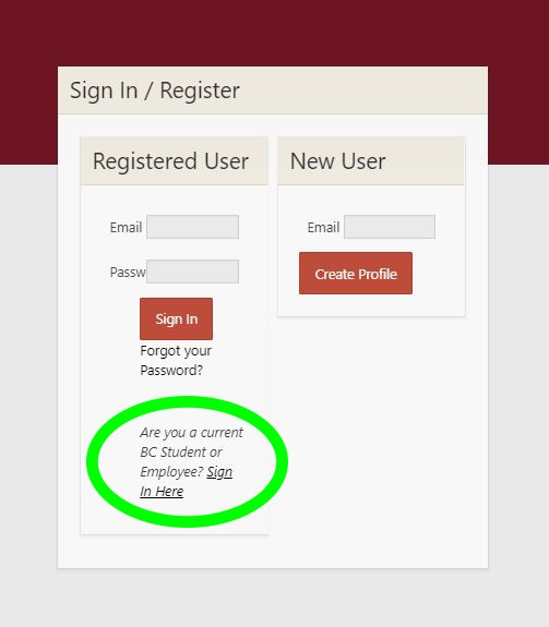 Sign in screen with link marked for BC credentials