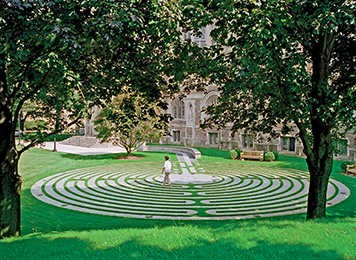 person walking on a meditation labyrinth