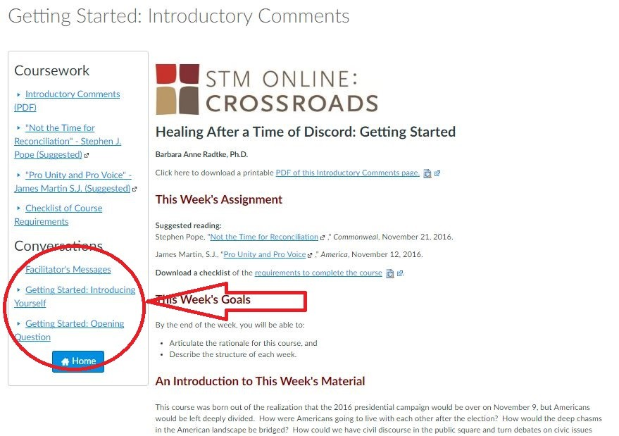 Arrow pointing to discussion links