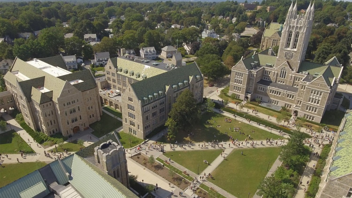 Aerial photo of Gasson Hall and city of Boston