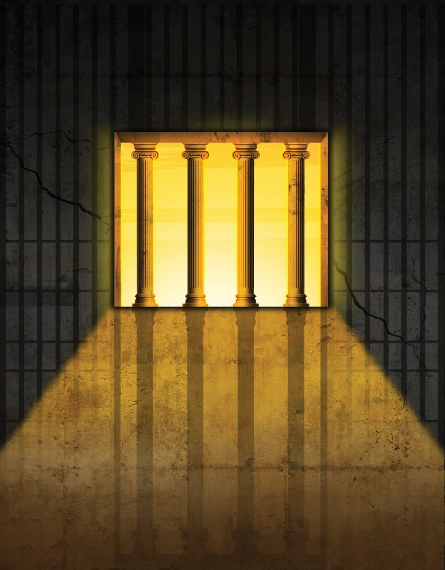 An illustration showing prison bars superimposed over columns invoking the Halls of Justice.