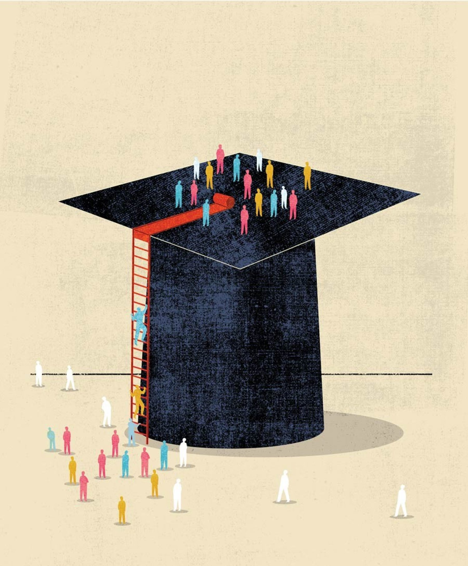 An illustration showing people scaling a graduation cap.