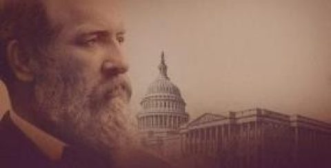 President Garfield and the U.S. Capitol building