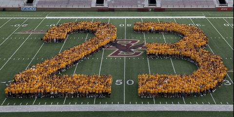 Members of the BC Class of 2023 form '23' in Alumni Stadium