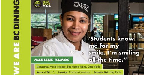 BC Dining signage featuring Marlene Ramos