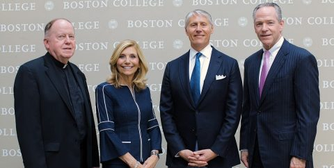 University President William P. Leahy, S.J.., with new Board of Regents chairs Susan Martinelli Shea and March Seidner, and former chair John Fish.