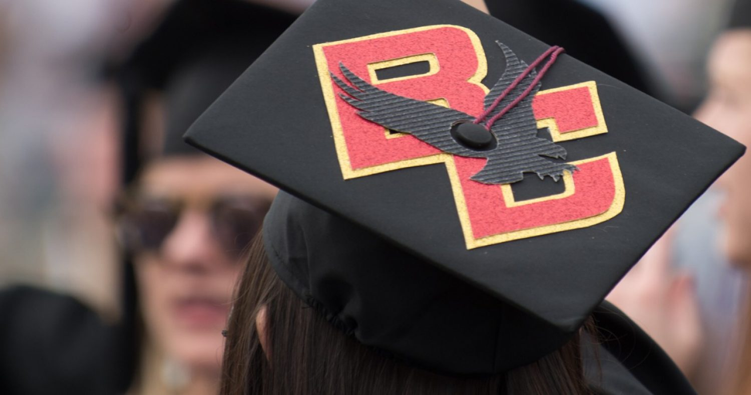 Mortarboard with BC eagle