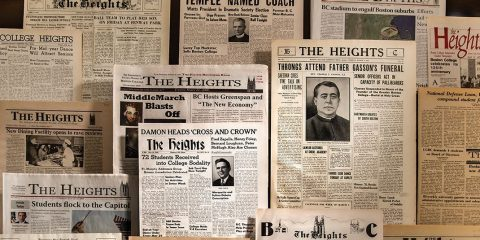 Photo of archival Heights newspapers
