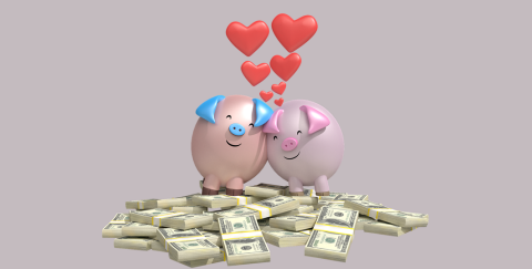 piggy banks with hearts