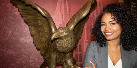 Jocelyn Gates and BC eagle statue