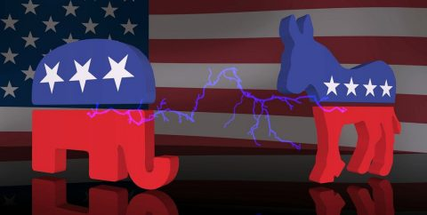 elephant and donkey political party icons