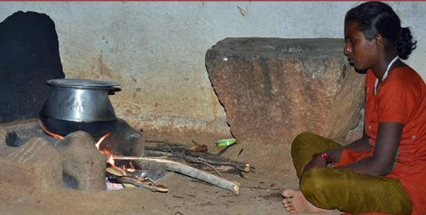 A woman uses a traditional cookstove in a village in Andhra Pradesh, India