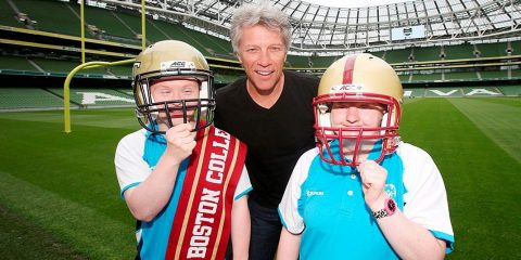 Special Olympics ambassador Jon Bon Jovi pictured with Special Olympics athletes James Kelly and Fiona Bryson