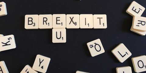Letters 'brexit' in Scrabble tiles
