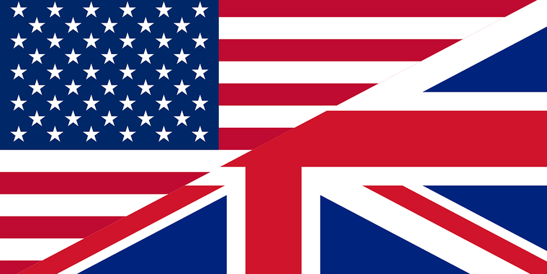 U.S. and British flags