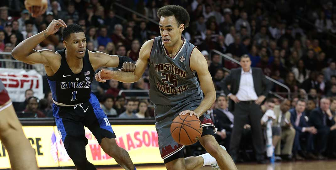 BC men's basketball player Jordan Chatman faces off against Duke