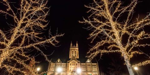 Gasson Hall with Christmas lights