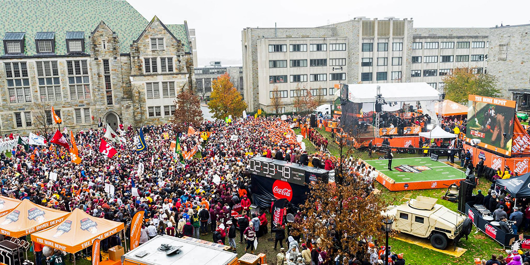 Aerial view of ESPN College GameDay crowd at BC