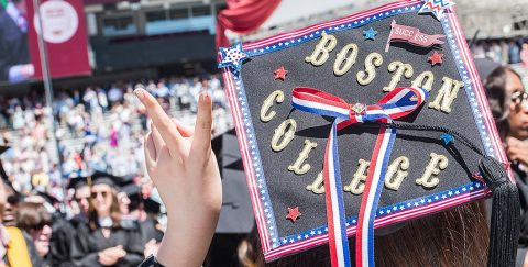 'Boston College' embellished mortarboard