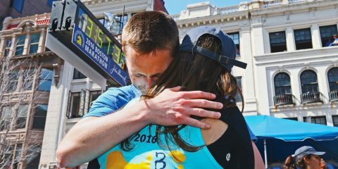 Patrick Downes and Jess Kensky after Patrick finishes the 2016 Boston Marathon