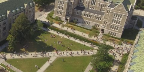 Aerial view of the Quad at Boston College