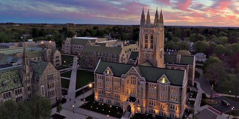 Aerial view of Gasson Hall