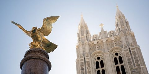 Gasson tower and eagle statue at Boston College