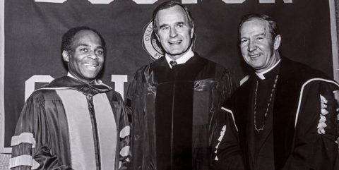 J. Donald Monan, S.J.: George H.W. Bush; and U.S. District Judge David Nelson in 1982