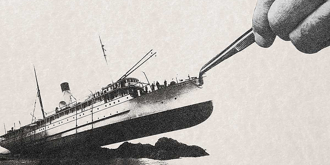 Illustration of a ship being tipped