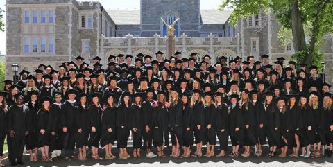 BC student-athletes in cap and gown
