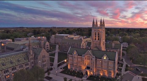 Gasson Tower aerial view at sunrise