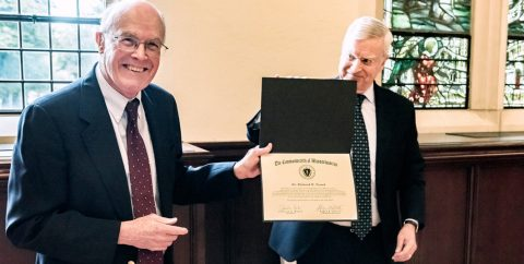 Professor Tresch with a citation from the Commonwealth of Massachusetts