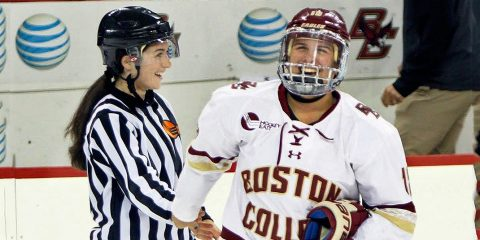 Dana Trivigno trades in her jersey for a referee's uniform