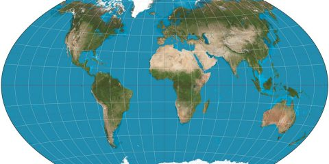 A world map on the Winkel tripel projection, a low-error map projection[2] adopted by the National Geographic Society for reference maps.