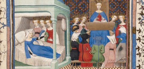 Christine de Pizan awakened by Reason, Rectitude and Justice (detail) | F. 1r from Christine de Pizan's Le Livre des trois Vertus | Paris, France c. 1405 | Boston Public Library, MS f Med. 101