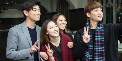 Eric Nam with Korean Students Association co-presidents Yerim Jee '17 of the Morrissey College of Arts and Sciences and classmate Margaret Chang of the Lynch School of Education, and Carroll School of Management junior Hyunsoo Jason Kim, president of KISO, the Korean International Students Organization.