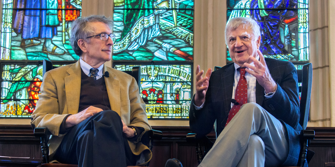 Howard Gardner, the Hobbs Professor of Cognition and Education at the Harvard Graduate School of Education (left), joined political scientist Alan Wolfe, founding director of Boston College's Boise Center for Religion and American Public Life, in Gasson 100 for a public conversation.