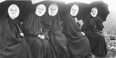 Pictured in France at Notre Dame d'Ay, left to right, are Sisters Edna Dupre, Anna Doherty, Elizabeth Keating, Katherine McCloskey, and Margaret McCarthy (Archives of the North American Province of the Cenacle)