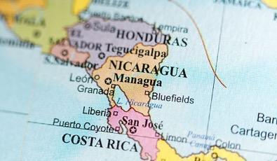 Illustration of map focusing on Nicaragua, Honduras, Costa Rica