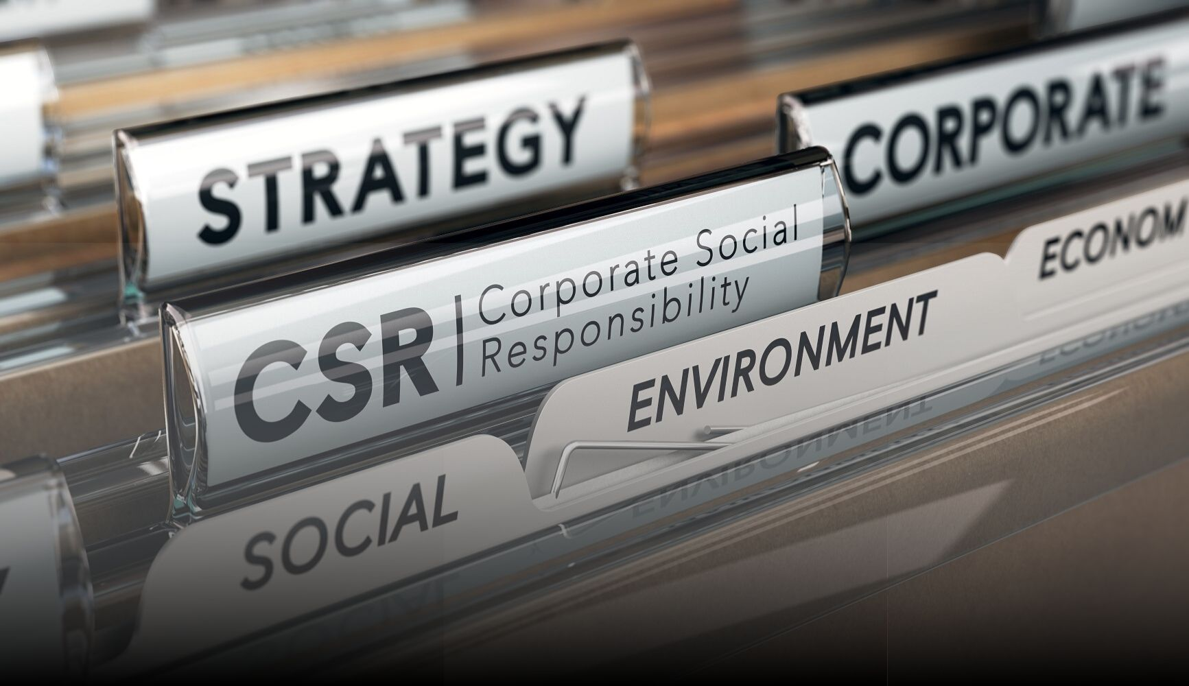 "image of file folders with the titles ""strategy"", ""CSR