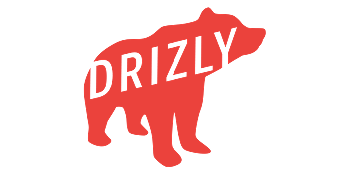 Logo of Drizly, a red grizzly bear with company name overlaid in white