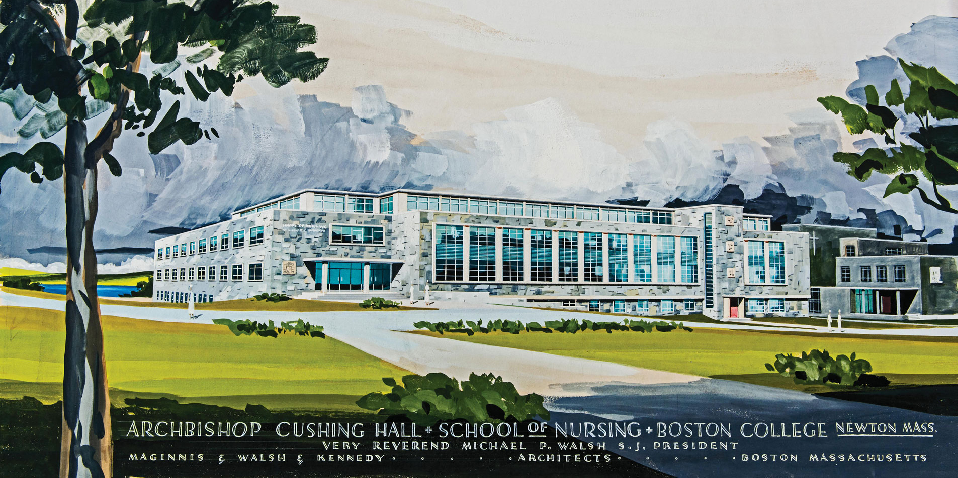 Painting of Cushing Hall