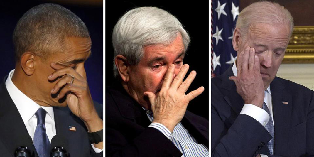 Barack Obama, Newt Gingrich and Joe Biden crying