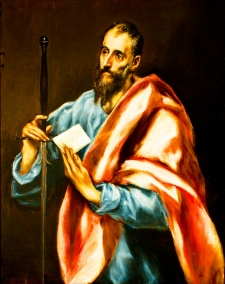 Painting of St. Paul in red and blue robes holding a sword and a letter