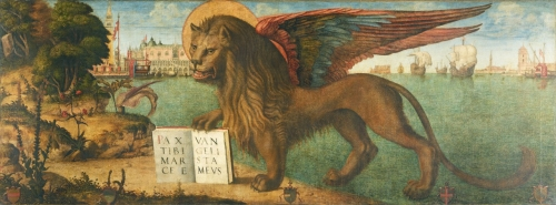 Painting of a haloed lion with multicolor wings