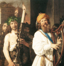 King David with harp in procession
