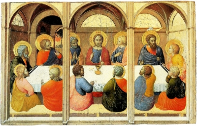 15th Century painting of the Institution of the Eucharist by Stefano di Giovanni